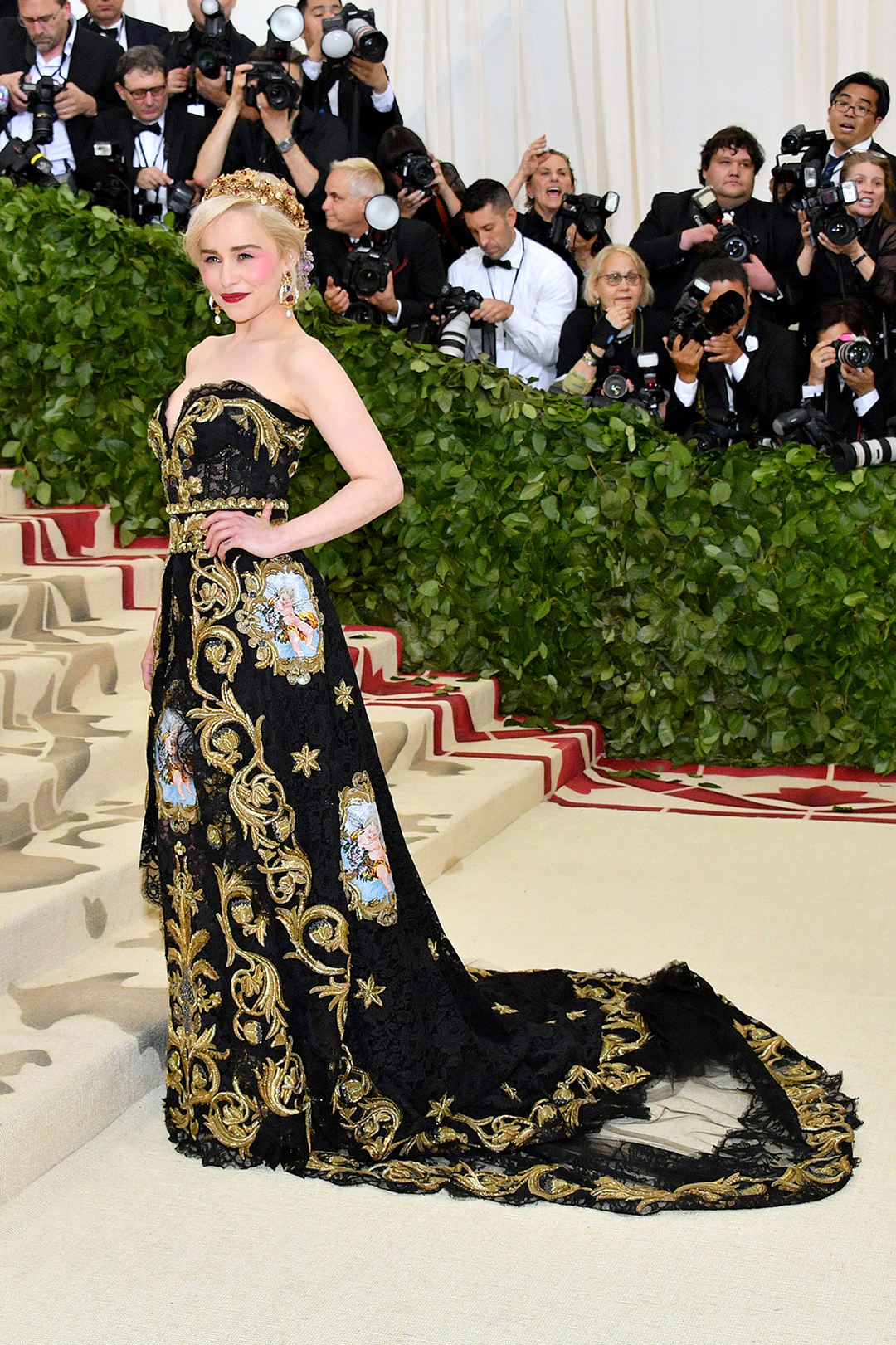 NEW YORK, NY - MAY 07: Emilia Clarke attends the Heavenly Bodies: Fashion & The Catholic Imagination Costume Institute Gala at The Metropolitan Museum of Art on May 7, 2018 in New York City. (Photo by Dia Dipasupil/WireImage)